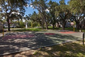 Basketball court surrounded by trees